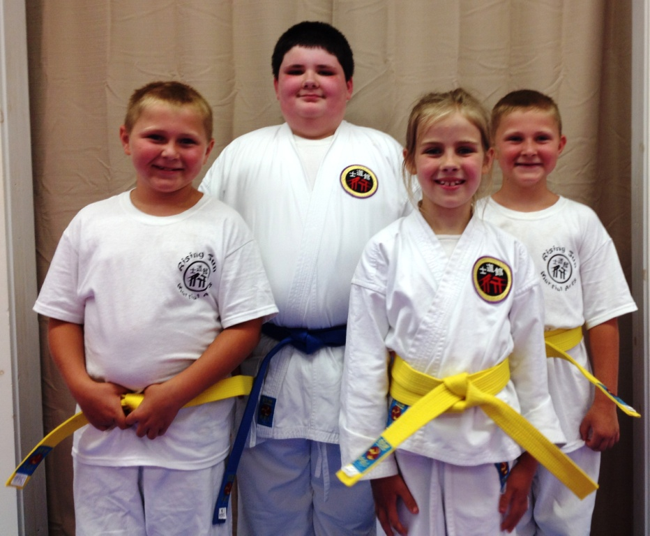 (l-r) Keith S., Ty V., Lilija C., Keegan S. were all promoted after a successful rank test on Friday evening.